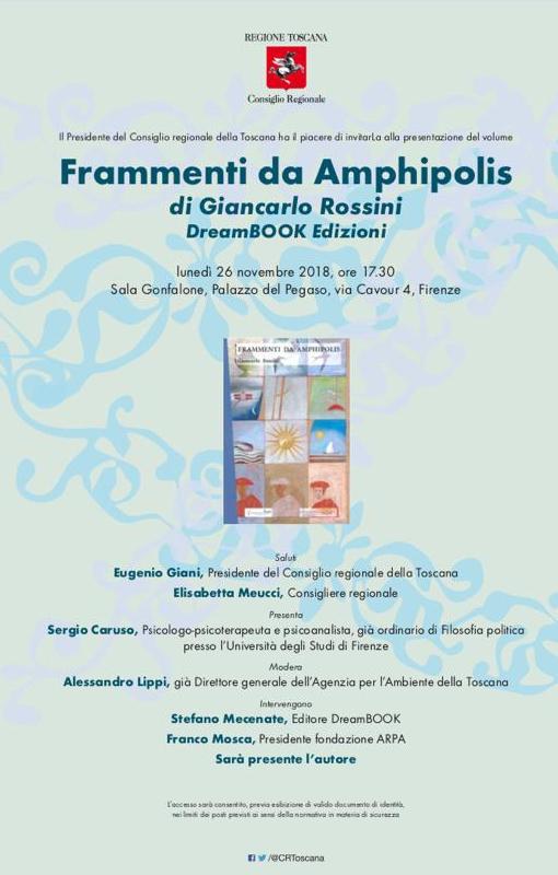 """Presentazione del romanzo """"Frammenti da Amphipolis"""" – Giancarlo Rossini"""